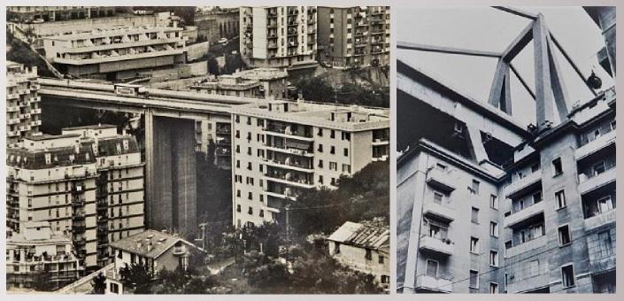 Ponti che incombono sui palazzi di Genova