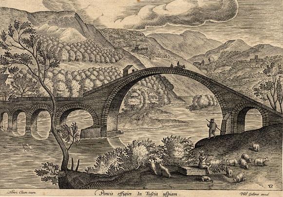 Il Ponte di Borgo a Mozzano in un'incisione del XVI secolo