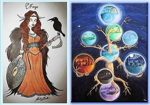 Freya e i Nove Mondi dell'Yggdrasil